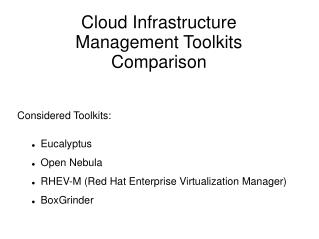 Cloud Infrastructure Management Toolkits Comparison