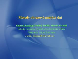 Metody obrazové analýzy dat