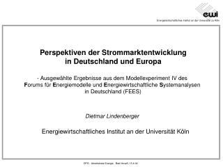 Perspektiven der Strommarktentwicklung in Deutschland und Europa