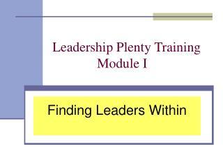 Leadership Plenty Training
