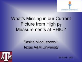 What's Missing in our Current Picture from High p T  Measurements at RHIC?