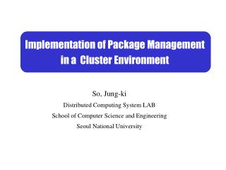 Implementation of Package Management in a  Cluster Environment