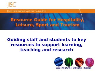 Resource Guide for Hospitality, Leisure, Sport and Tourism