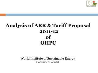Analysis of ARR & Tariff Proposal   2011-12  of  OHPC