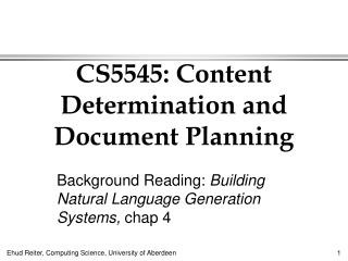 CS5545: Content Determination and Document Planning