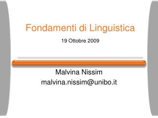 Fondamenti di Linguistica 19 Ottobre 2009