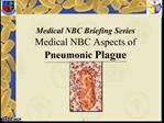 Medical NBC Briefing Series Medical NBC Aspects of Pneumonic Plague