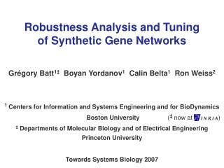 Robustness Analysis and Tuning  of Synthetic Gene Networks