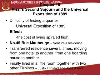 Chapter 15 Rizal's Second Sojourn and the Universal Exposition of 1889