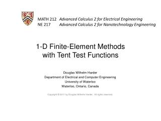 1-D Finite-Element Methods with Tent Test Functions