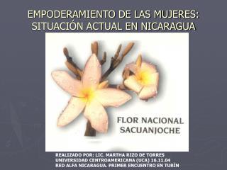 EMPODERAMIENTO DE LAS MUJERES: SITUACIÓN ACTUAL EN NICARAGUA