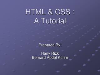HTML & CSS : A Tutorial