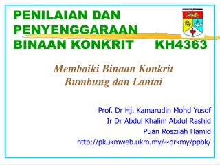PENILAIAN DAN PENYENGGARAAN                 BINAAN KONKRIT     KH4363