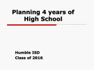 Planning 4 years of High School