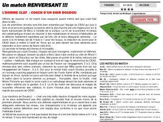 Un match RENVERSANT !!! L'HOMME CLEF  : COACH D'UN SOIR DOUDOU