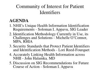 Community of Interest for Patient Identifiers