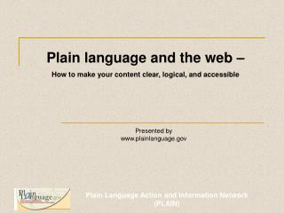 What is Plain Language
