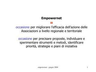 Empowernet  = occasione  per migliorare l'efficacia dell'azione delle
