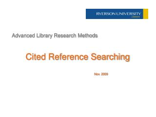 Advanced Library Research Methods