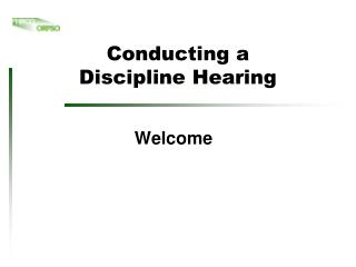 Conducting a  Discipline Hearing