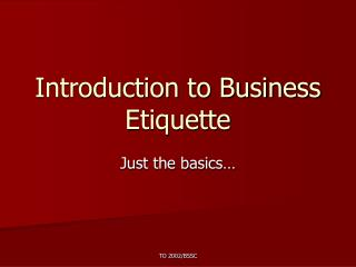 Introduction to Business Etiquette