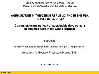 Ministry of Agriculture of the Czech Republic  Department of Agriculture of the State of Georgia