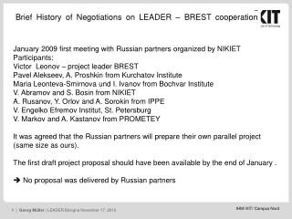 Brief History of Negotiations on LEADER – BREST cooperation