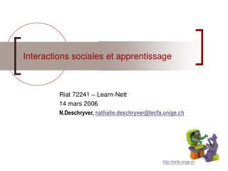 Interactions sociales et apprentissage