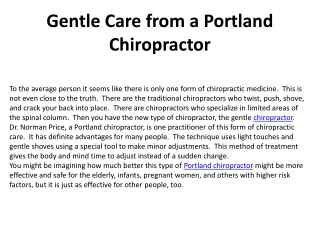 Gentle Care from a Portland Chiropractor