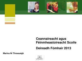 Ceannaireacht agus Féinmheastoireacht Scoile Deireadh Fómhair  201 3