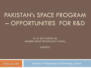 University of Engineering and Technology, Lahore.