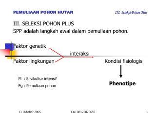 PEMULIAAN POHON HUTAN III. Seleksi Pohon Plus