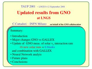 TAUP 2001  -  LNGS 8-12 September 2001