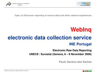 WebInq electronic data collection service  INE Portugal