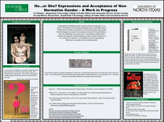 He…or She? Expressions and Acceptance of Non-Normative Gender – A Work in Progress