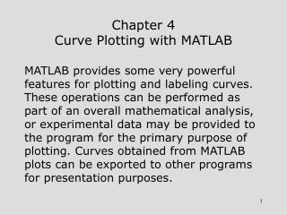 Chapter 4 Curve Plotting with MATLAB