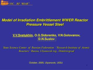 Model of Irradiation Embrittlement  WW ER Reactor Pressure Vessel Steel
