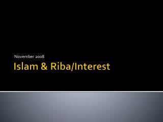 Islam & Riba/Interest