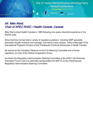 Mr. Mike Ward,  Chair of APEC RHSC / Health Canada, Canada