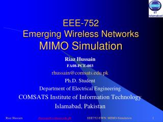 EEE-752 Emerging Wireless Networks MIMO Simulation
