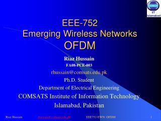 EEE-752 Emerging Wireless Networks OFDM
