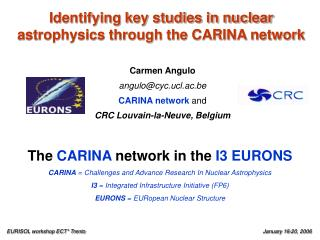 Identifying key studies in nuclear astrophysics through the CARINA network