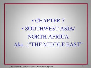 "CHAPTER 7 SOUTHWEST ASIA/ NORTH AFRICA Aka…""THE MIDDLE EAST"""