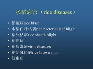 水稻病害( rice diseases )