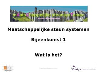 Maatschappelijke steun systemen Bijeenkomst 1 Wat is het?