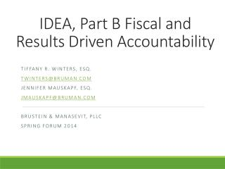 IDEA, Part B Fiscal and Results Driven Accountability