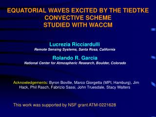EQUATORIAL WAVES EXCITED BY THE TIEDTKE CONVECTIVE SCHEME  STUDIED WITH WACCM