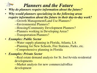 Planners and the Future