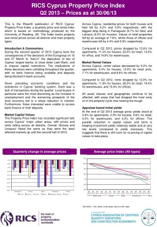 RICS Cyprus Property Price Index  Q2  201 3 – Prices as at 30/06/13