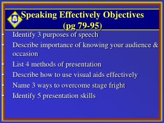 Speaking Effectively Objectives  (pg 79-95)